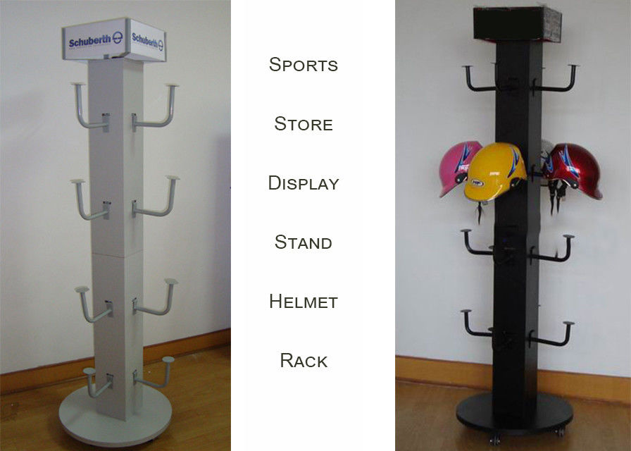 Four Sides Motorcycle Helmet Display Rack , 16 Crash Helmet Display Stand